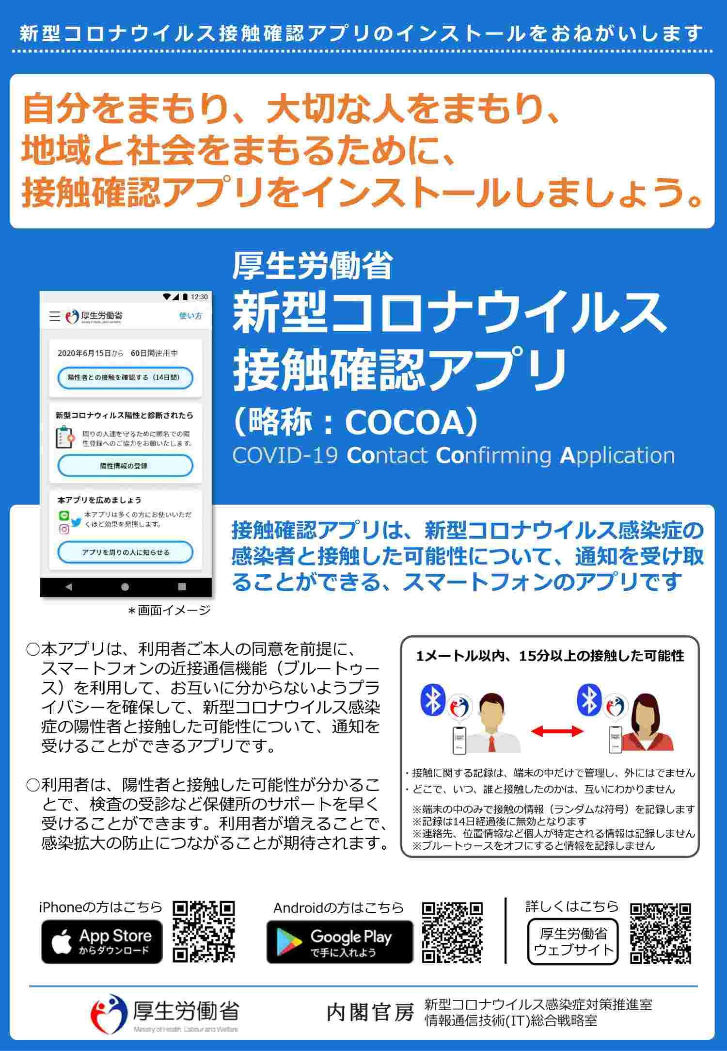 新型コロナウイルス接触確認アプリcocoa